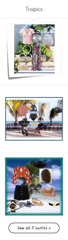 """""""Tropics"""" by alexis-kitten on Polyvore featuring Post-It, SONOMA Goods for Life, New Look, Kenneth Jay Lane, Anne Klein, EyeletLaceUpShortSleeveTop, Silvertonecrystalandfauxpearlearrings, WhiteroundRxSunglasses, MetallicWhiteFreshwaterPearlBracelet and HighRiseAlloverPrintWideLegPants"""