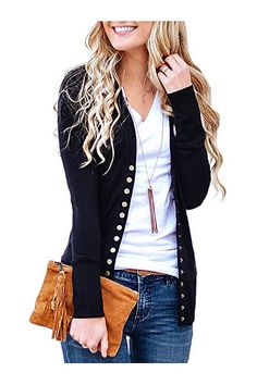 15e612e7ce Women s V-Neck Button Down Knitwear Long Sleeve Soft Basic Knit Snap  Cardigan Sweater(Black-XS)
