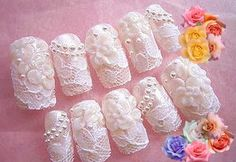 But tons of lace.  Bridal Nail Art