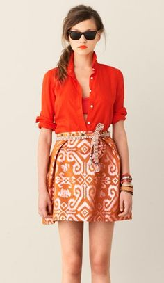 open blouse + bright colors + tribal patterns