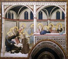 Pietro Lorenzetti - Lavanda dei piedi (Storie della Passione di Cristo) - 1326-1329 - affresco - Assisi, Basilica inferiore di San Francesco