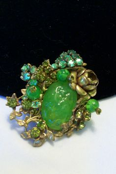 Miriam Haskell Chrysopase Glass Cabachon, Rose Montees and Green Bead Floral Brooch Personal Collection