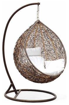 Trully Outdoor Wicker Swing Chair, The Great Hammocks - contemporary - outdoor chairs - Amazon