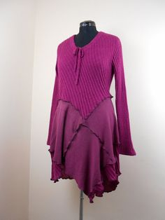 Upcycled Plus-Size Sweater Tunic / Recycled Sweater Top / Deep Pink and Mauve Long Top / Lagenlook Sweater Tunic