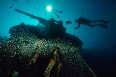 USS President Coolidge - harbor of Vanuatu's Espiritu Santo Island.