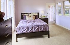 #Bedroom design and decor #lavender with lots of #windows and natural light