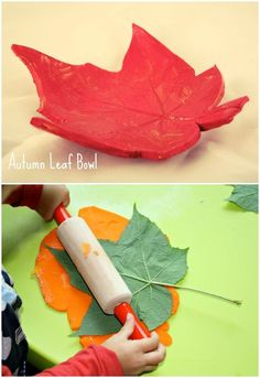 Fall Leaf Bowl. Air Dry Clay Craft project for children.