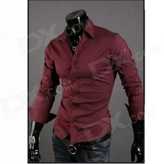 Stylish Men's Slim Fit Shirt -  Wine Red (Size L)