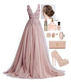 A fashion look from July 2015 featuring giuseppe zanotti shoes, Yves Saint Laurent and cubic zirconia stud earrings. Browse and shop related looks. Elegant Outfit, Elegant Dresses, Pretty Dresses, Blush Dresses, Ball Dresses, Ball Gowns, Classy Outfits, Chic Outfits, Look Fashion