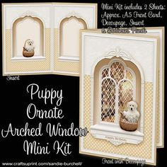 A beautiful Ornate Arched Window adorned with a Golden Retriever Puppy in a Basket and a lovely landscape view. The Mini Kit has 2 pages which includes an A5 approx Card Front with Decoupage, Matching Insert and Sentiment Panels. Sentiments included are: Happy Birthday, Happy Mother's Day or Blank for your own peel-off lettering or stamp. The finished card will fit into a standard C5 envelope. A quick and easy card to make with stunning results, which will delight any recipient! To view…