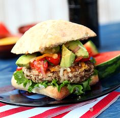 Black Bean Turkey Burger:  1/2 yellow onion, chopped; 1 pepper, seeded and chopped; 3 garlic cloves; 1 (14.5 ounce) can black beans, drained; 1/2 lb ground turkey; 1/2 teaspoon curry powder; 1/2 teaspoon paprika; 1/3 cup grated parmesan; juice from half a life. Mix thoroughly, grill patties in skillet
