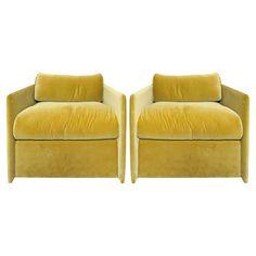 Viyet - Designer Furniture - Seating - John Saladino Modern Green Velvet Chairs