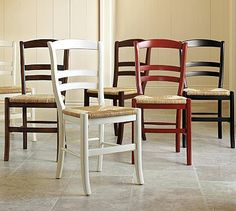 """Isabella Chair #potterybarn 16.5"""" wide x 20"""" deep x 35.25"""" high Expertly crafted of solid hardwood. Rush seats are woven of natural rye. Detailed with a hand-rubbed finish with light distressing around the edges. See available finishes below. Wood swatches, below, are available for $25 each. We will provide a merchandise refund for wood swatches if they're returned within 30 days. Side chair is sized for use with our small PB Classic Dining Cushion."""