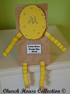 "Jesus Rose From The Dead Chick Lunch Bag Craft For Kids In Sunday school. Comes with 4 different printable templates. Colored and black and white and the words also say, ""MY Name Is Chick"" and ""Jesus Rose From The Dead"". Let the kids color the chick and cut it out and tape to a brown lunch bag."