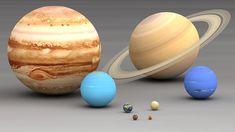 The Planets in Our Solar System in Order of Size - Planets in our Solar system size comparison. Largest to smallest are pictured left to right, top to bottom: Jupiter, Saturn, Uranus, Neptune, Earth, Venus, Mars, Mercury.