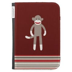Cute Sock Monkey on Red with Stripes Case For The Kindle