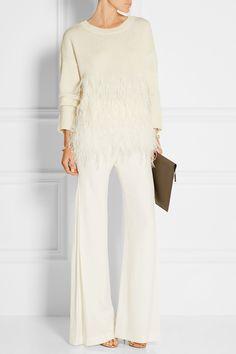 Elizabeth and James | Feather-trimmed cotton-blend sweater | NET-A-PORTER.COM