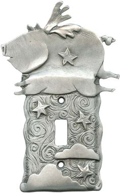 WHEN PIGS FLY Switch Plates, Outlet Covers Rocker Switchplates click the image or link for more info. Switch Plate Covers, Light Switch Plates, Metal Embossing, Cute Piggies, Toggle Light Switch, Flying Pig, Outlet Covers, Light Switch Covers, Metal Crafts
