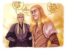 """--- The Lord Of The Rings - The Hobbit --- Thranduil Legolas --- Maybe during """"the battle of the five army"""" ! ^^ Poor Thrandy, He's scared for his son! LOTR - Save your life Tolkien Hobbit, Tolkien Books, O Hobbit, Lotr Elves, Mirkwood Elves, Glorfindel, Morgoth, Das Silmarillion, Legolas And Thranduil"""