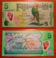 Fiji - 5 Dollars - UNC polymer currency note (nice color composition) Polymer banknotes are banknotes made from a polymer such as biaxially oriented polypropylene (BOPP).