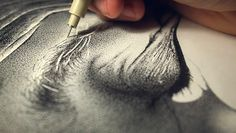 Wow!  Miguel Endara's portrait of his father, using 3.2 million dots from assorted Micron pens.