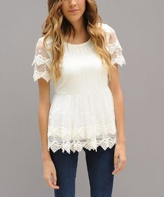 Another great find on #zulily! White Layered Lace Double Peplum Top by Journey Five #zulilyfinds