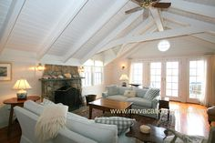 Martha's Vineyard Vacation Rentals | Edgartown | THARD - 2nd Level Living Room Opens to Waterfront Deck