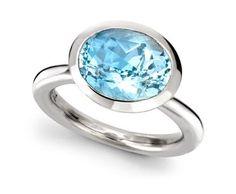 Blue aquamarine platinum ring by Wright & Teague