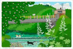"""artandcetera:  """"  TABINEKO, Toshinori Mori  """"A cat on a journey.  """" """"  海外の方のブログにたびねこのイラストを掲載していただきました。Art & Ceteraという素敵なtumblrのblogです。  —- このポストカードはこちらで販売しています。  I had you place blog illustration of the overseas one.It is blog of wonderful tumblr called Art..."""