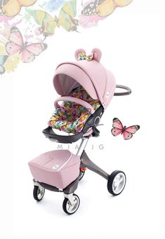 Butterflies collection to fit Stokke Xplory Crusi, Trailz :) Ears! Baby Girl Strollers, Classic Blankets, Welcome New Baby, Baby Life Hacks, Baby Stroller Accessories, Stroller Cover, Oeko Tex 100, Baby Carriage, Minnie