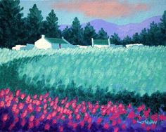 Turquoise Meadow Painting