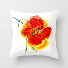 Hand painted flower in orange Throw Pillow by wildseadesign Orange Throw Pillows, Hand Painted, Flowers, Royal Icing Flowers, Flower, Florals, Floral, Blossoms