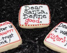Christmas Cookies, Custom Cookies, Christmas Sayings, Sister Gift, Brother Gift, Decorated Sugar Cookies, Funny Christmas