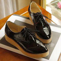 Lace Up Hollow Details Two Tone Vintage Platform Shoes