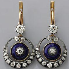 European-cut Diamond Earrings Victorian Cobalt Blue Enamel Antique