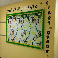 Monkey Bulletin Board- Swinging into VBS Monkey Bulletin Boards, Kindergarten Bulletin Boards, Summer Bulletin Boards, Back To School Bulletin Boards, Classroom Bulletin Boards, Preschool Classroom, Classroom Activities, Jungle Theme Classroom, Classroom Themes
