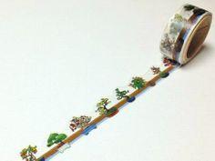 Bonsai - Round Top Yano Design - Green Plant - Japanese Die Cut Washi Masking Tape - Kawaii Collage, Gift Wrapping - JapanLovelyCrafts