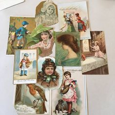 Antique paper lot includes old Victorian era cards and cutouts from advertising, etc. Good vintage condition, for use in scrapbooking, collage, etc. Collage, Victorian Era, Ephemera, Etsy, Scrapbook, Antiques, Paper, Cards, Fictional Characters