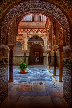 Moorish arches in the Alcazar, Seville, Spain.