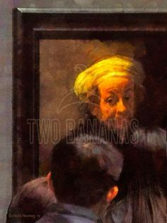 "RUK MUSEUM VIEWERS – As a group of art lovers gather about Rembrandt's ""Self portrait of the apostle Paul"" in Amsterdam's Ruk Museum, it appears he has become part of the group. For many, the experience is that of meeting an old friend. Painting by artist Richard Neuman represented by Two Bananas Art. Giclee $21.00 #photopainting #rembrandt #Amsterdam #rukmuseum #artlover #travelpainting #impressionism #apostle paul"