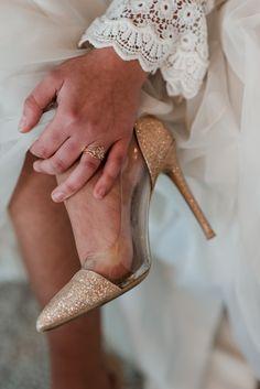 698aae31c4decb 1970s Retro   Mid Century Wedding Ideas. Gold Glitter Shoes Bride Bridal ...