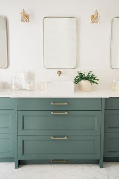 The Painted Cabinets Are BM Jack Pine Color Hardware Is From Amerock We Love Light Champagne Gold Against Green