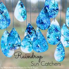 """These raindrop <a href=""""http://www.pre-kpages.com/raindrop-suncatchers-fine-motor-art/?utm_content=bufferd08bb&utm_medium=social&utm_source=pinterest.com&utm_campaign=buffer"""" target=""""_blank"""">sun catchers</a> would look lovely in just about any room."""