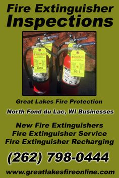 Fire Extinguisher Inspections North Fond du Lac, WI (262) 798-0444 Call the Experts at Great Lakes Fire Protection.. We are the complete source for Fire Extinguisher Service for Local Wisconsin Businesses We would love to hear from you.. Call us Today!