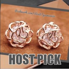 HOST PICK WORK WEEK CHIC PARTY Pictures don't do these earrings justice!! Beautiful 18K gold plated, cubic zirconia earrings. NEW Jewelry Earrings