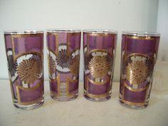 Vintage culver Hollywood regency gold gild bar glasses