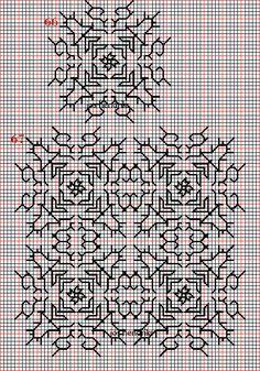 Borduren en borduurwerk:zwart borduren:vlakvullingen 63-67