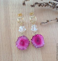 """Купить Серьги """"Чудо природы"""" - розовый, алмаз херкимера, серьги с друзами, херкимерский алмаз"""