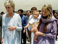 Princess Diana in Lahore, Pakistan in 1997 visiting Lady Annabel Goldsmith and her daughter, Jemima Khan who at the time was married to…