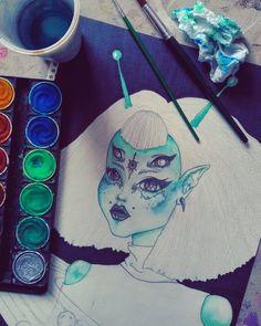 provocative-planet-pics-please.tumblr.com Humans arent real.  #wip #art #artwork #illustration #surrealism #popsurealism #lowbrow #alien #elf #girl #green #sia #hair #inspiration #draw #drawing #watercolors #pencildrawing #pencilart #piercings #eyes #bangs #universe #galaxy #planets #imbluedabadeedabadie #workinprogress #stillstuckwiththisone #coloring #finally by xxusako https://www.instagram.com/p/BDkuyfQCoZv/